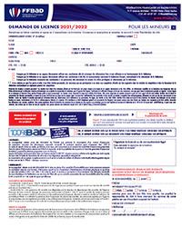 Le formulaire d'inscription pour les mineurs